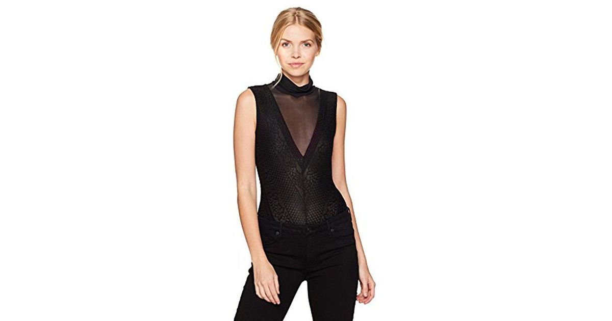 Lyst - Guess Sleeveless Riva Bodysuit in Black - Save 19% e9afd9202
