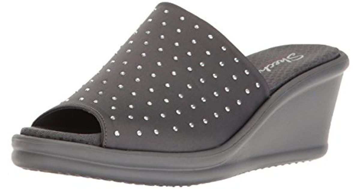 Skechers Gray Cali Rumblers Silky Smooth Wedge Sandal
