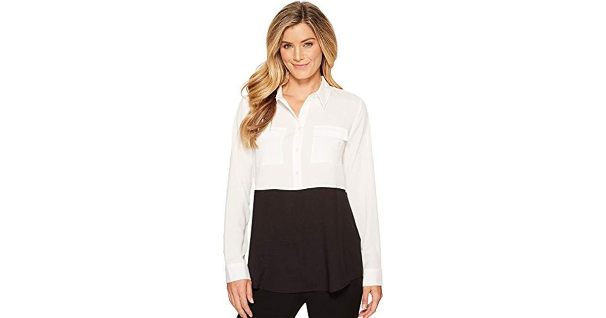 bb6deac4 Lyst - Calvin Klein Colorblock Button Down Tunic in Black - Save 51%