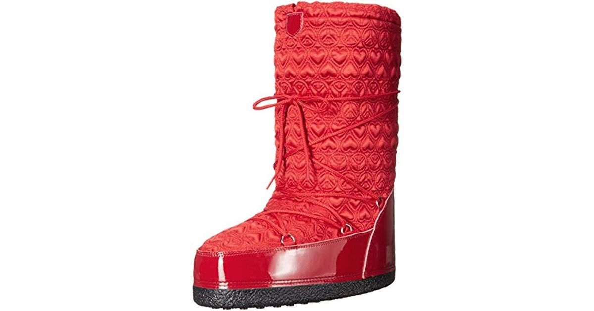 promo code cf002 5f702 Love Moschino Red Peace Moonboot Snow Boot
