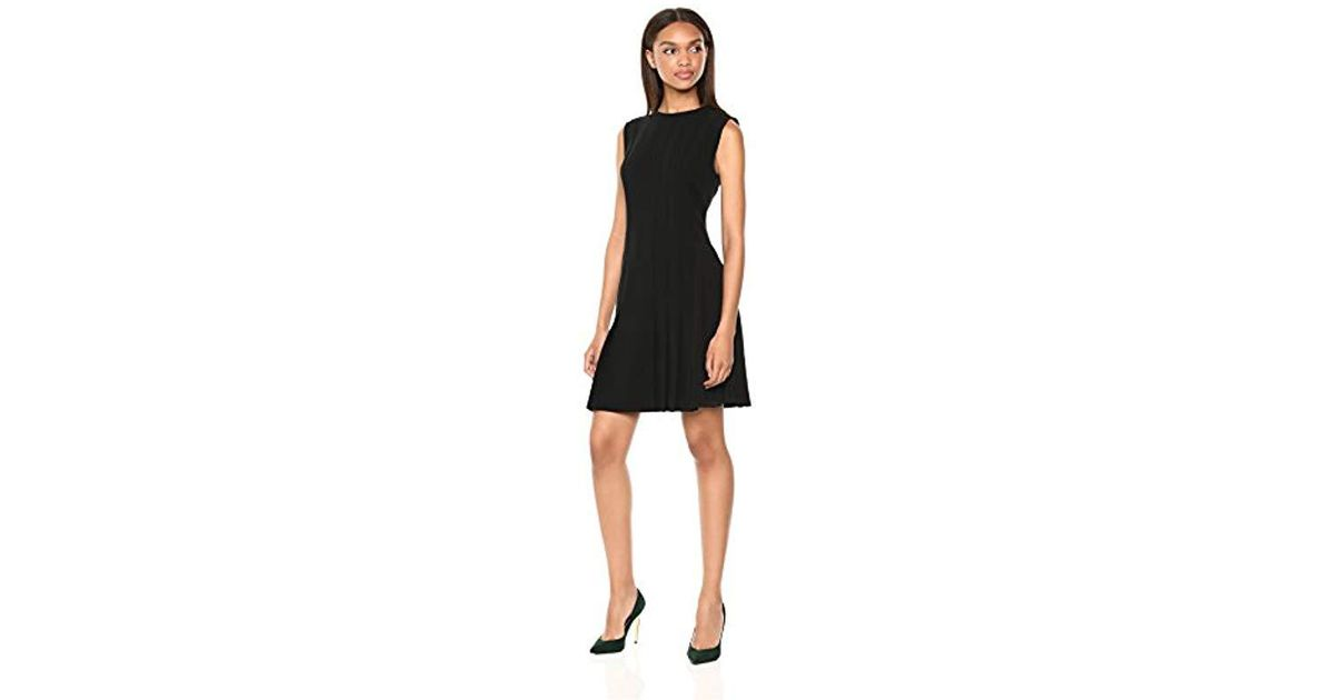 4e6a5ac44fb9 Lyst - Theory Sleeveless Pleated Day Dress in Black