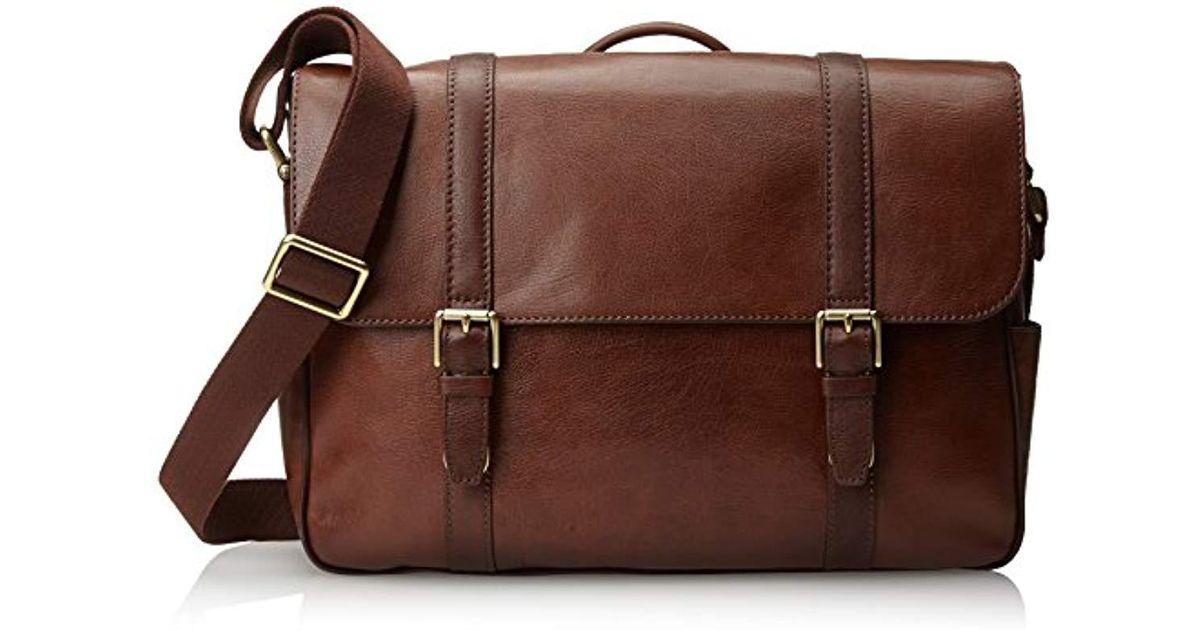 Lyst Fossil Estate Saffiano Leather East West Messenger Bag Cognac In Brown For Men