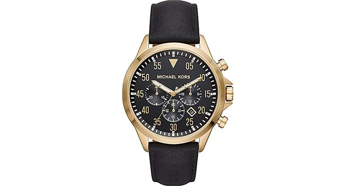 79b5c8083637 Lyst - Michael Kors Watches S Gage Gold-tone And Black Leather Watch in  Black for Men