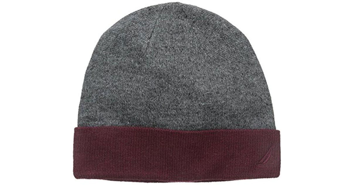 fc409a913 Nautica - Gray Reversible Solid Cuff Hat for Men - Lyst