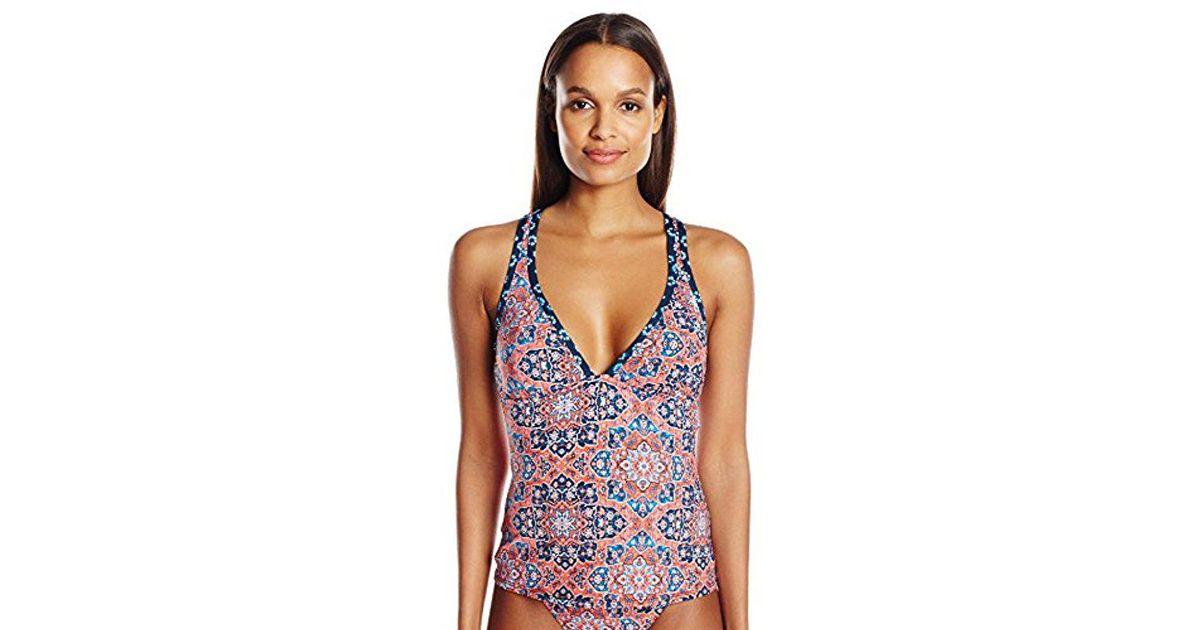 82ecfff5b0 Lucky Brand Junior's Festival Medallion V-neck Cross-back Swimsuit Tankini  Top in Blue - Lyst