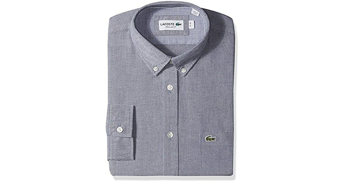 2c874ec1 Lacoste Blue Long Sleeve Button Down With Pocket Oxford Solid Regular Fit  for men