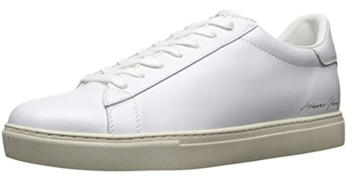 aae28ef9a1743 Armani Jeans White Jeans Low Cut Script Fashion Sneaker for men
