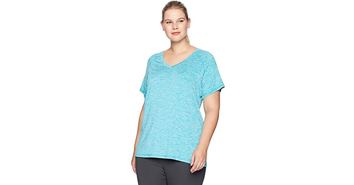 161a23777a5 Danskin Plus Size Heather Active V-neck T-shirt in Blue - Lyst