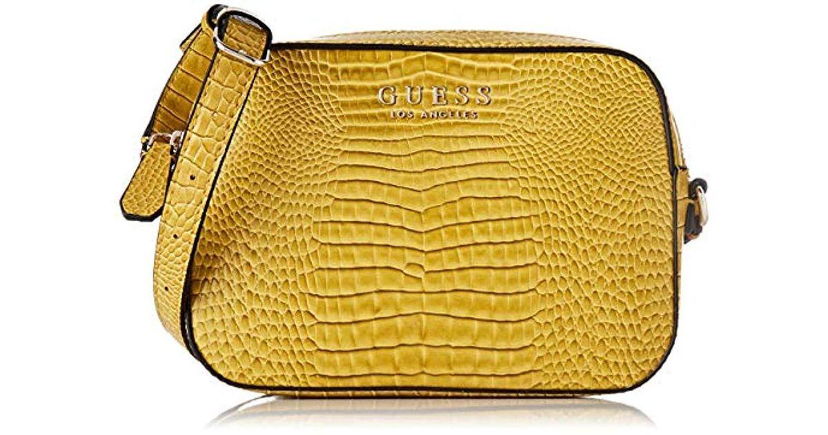 Guess Yellow Kamryn Umhängetasche, 5.5x16x22 Centimeters