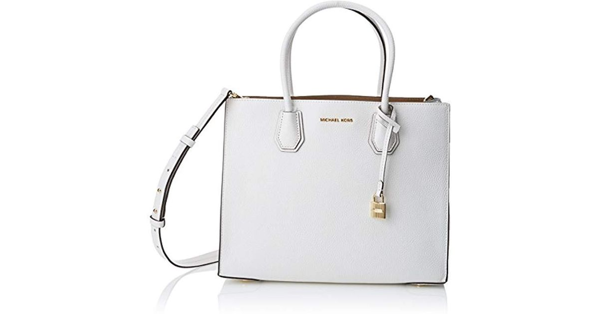 d03c158a8a70c Michael Kors Mercer Tote in White - Lyst