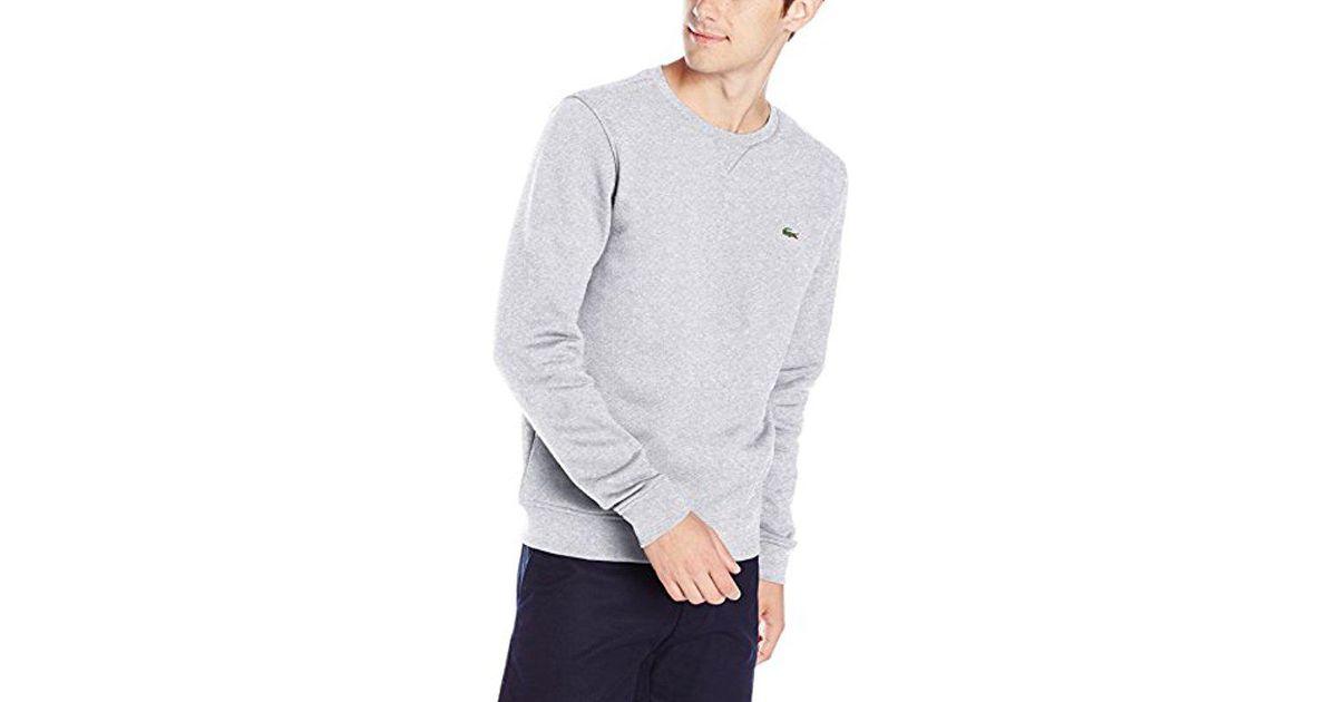 For Lyst Crew Neck Fleece Brushed Sweatshirt Men In Lacoste Gray yf67gYb