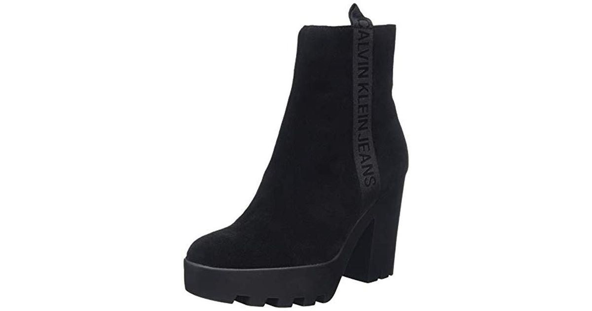 ab7b1ad0eaa0 Calvin Klein Serina Suede Ankle Boots in Black - Lyst