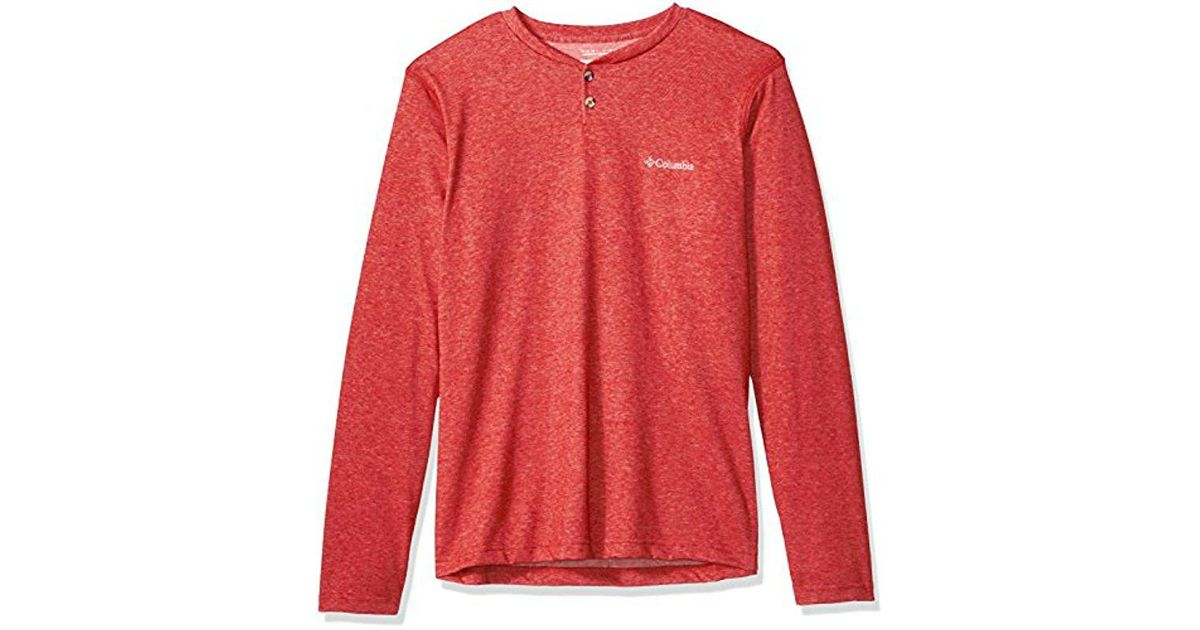dcffc17d458 Lyst - Columbia Thistletown Park Henley in Red for Men - Save  29.411764705882348%