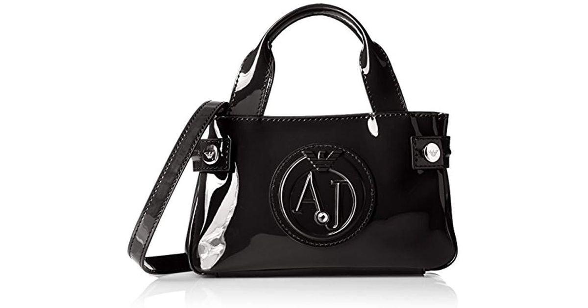 Lyst - Armani Jeans Eco Patent Leather Crossbody Mini Bag in Black 189e52eb39a57