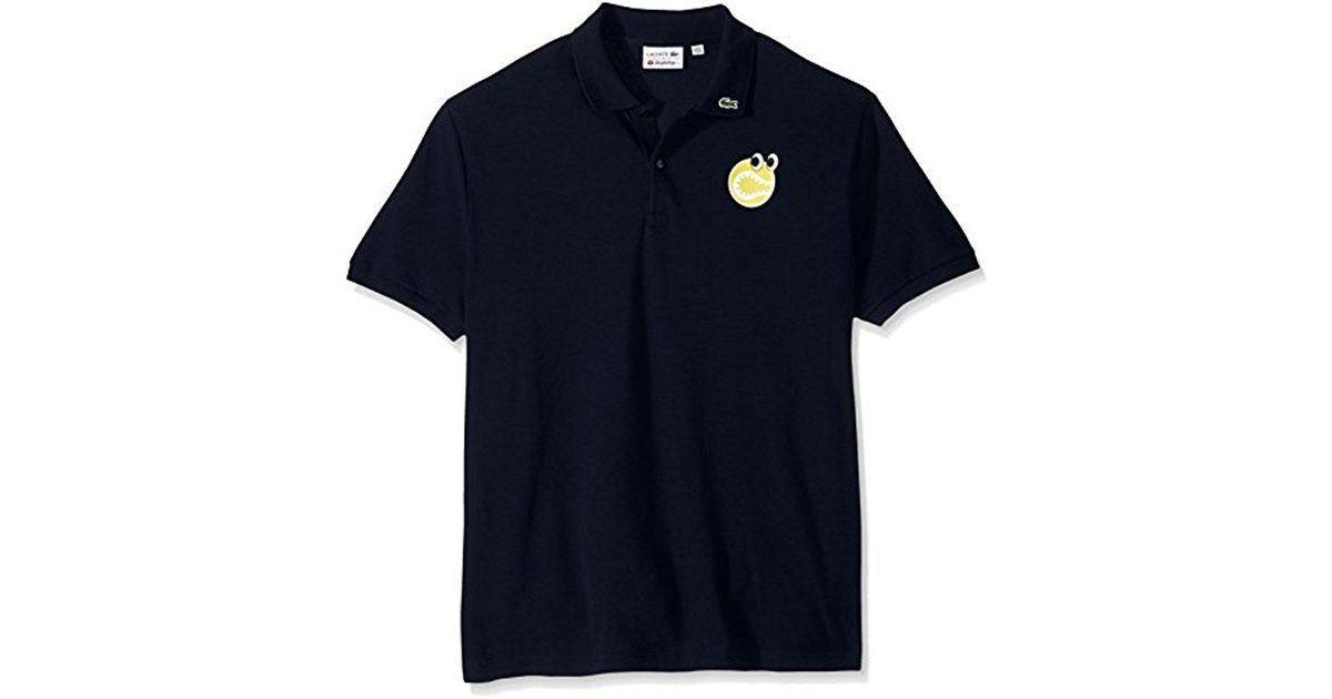 4c8a976b Lyst - Lacoste Yazbukey Short Sleeve Pique Graphic Polo, Ph5277 in Blue for  Men