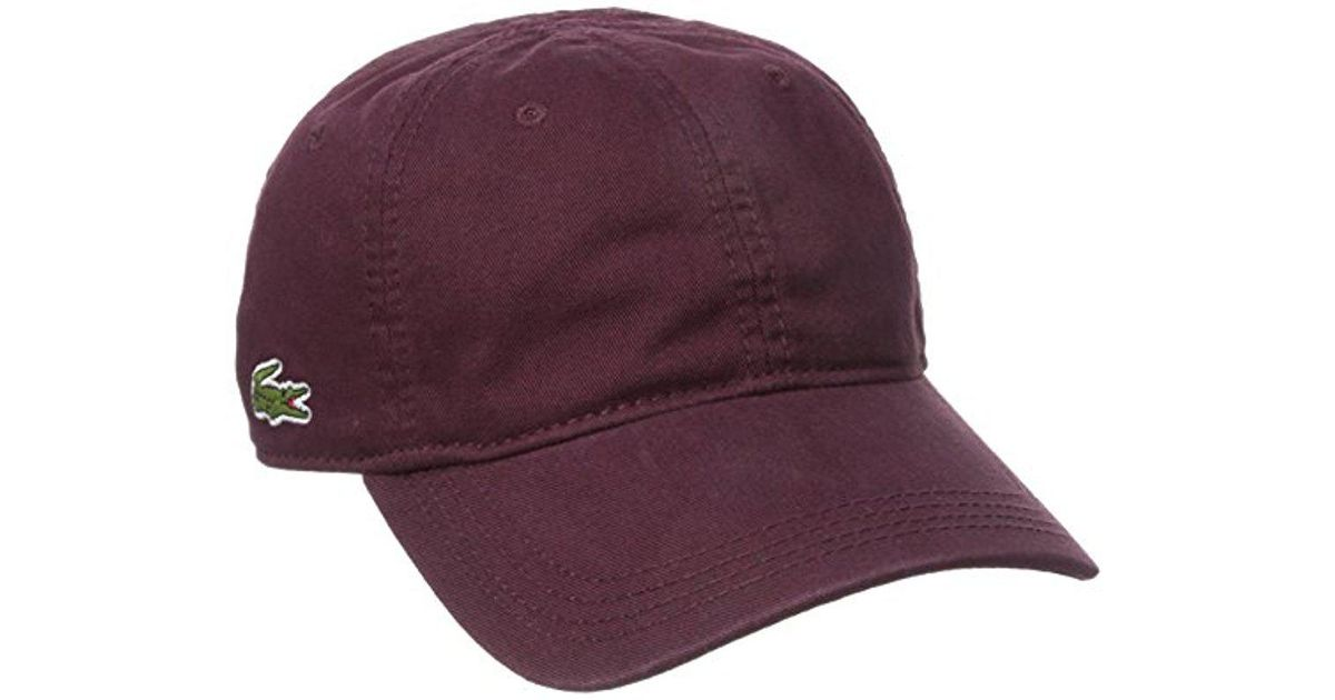 1e9cc448a31 Lyst - Lacoste Cotton Gabardine Cap With Signature Green Croc in Red for Men