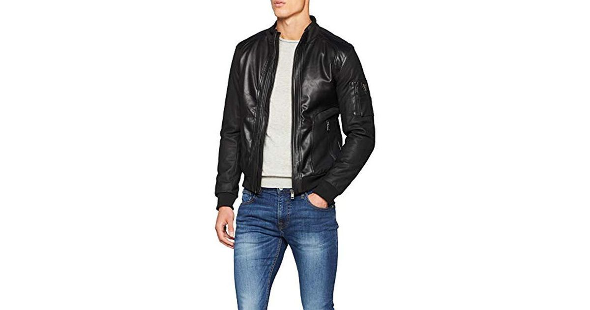 size 40 0dd3e 612a9 Guess Black Giubbotti Mesh-up Eco Leather Sports Jacket for men