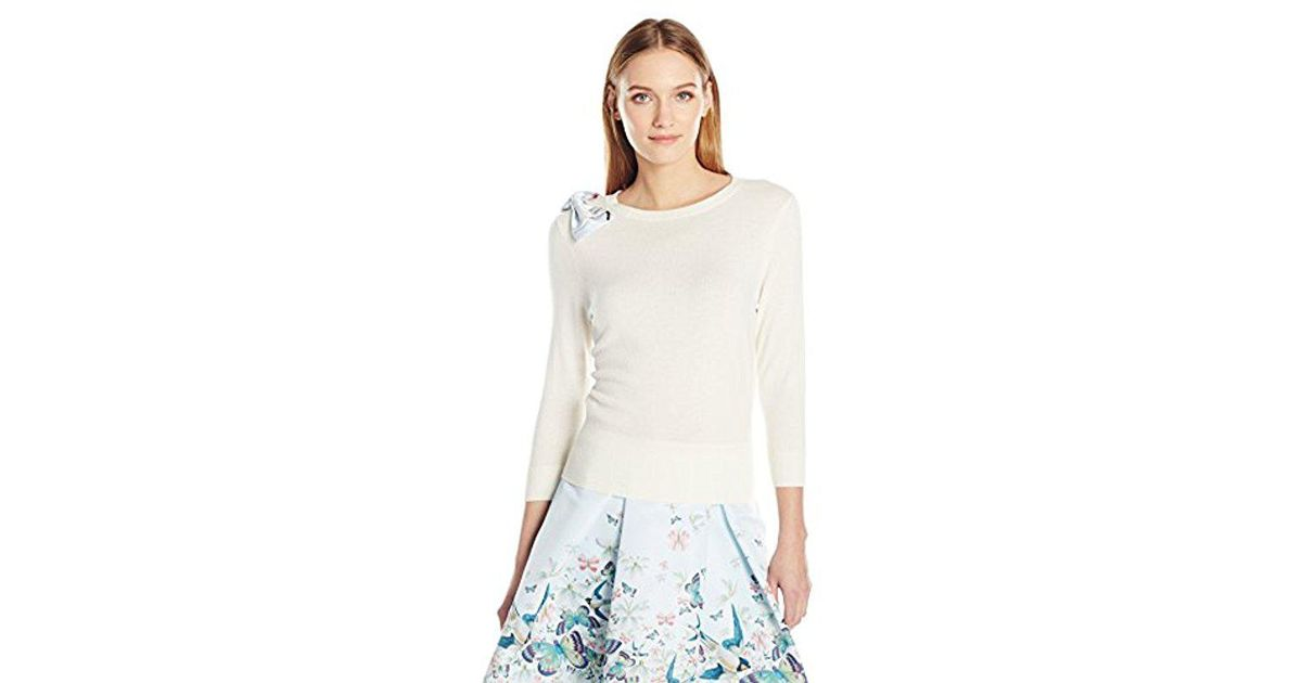 e6b3a87e3f5425 Lyst - Ted Baker Hessah Oriental Bloom Bow Jumper in White