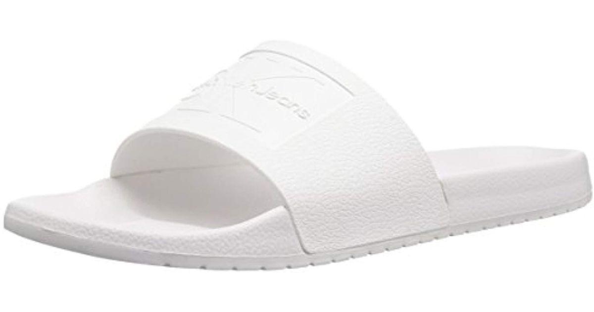 e31879f09053a Calvin Klein White Vincenzo Jelly Slide Sandal for men