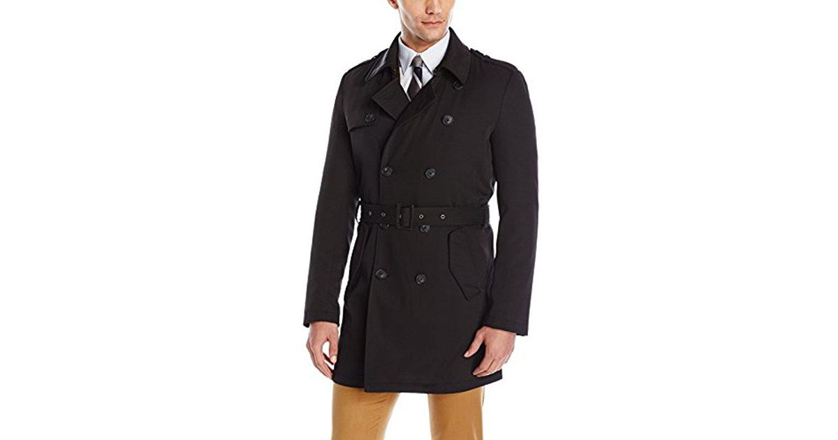 5aae04b50530 Lyst - Calvin Klein Meteor Db Trench Coat in Black for Men