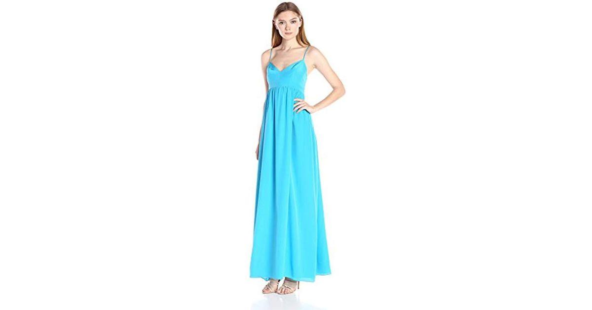 Lyst - Amanda Uprichard Silk Gown Maxi Dress in Blue