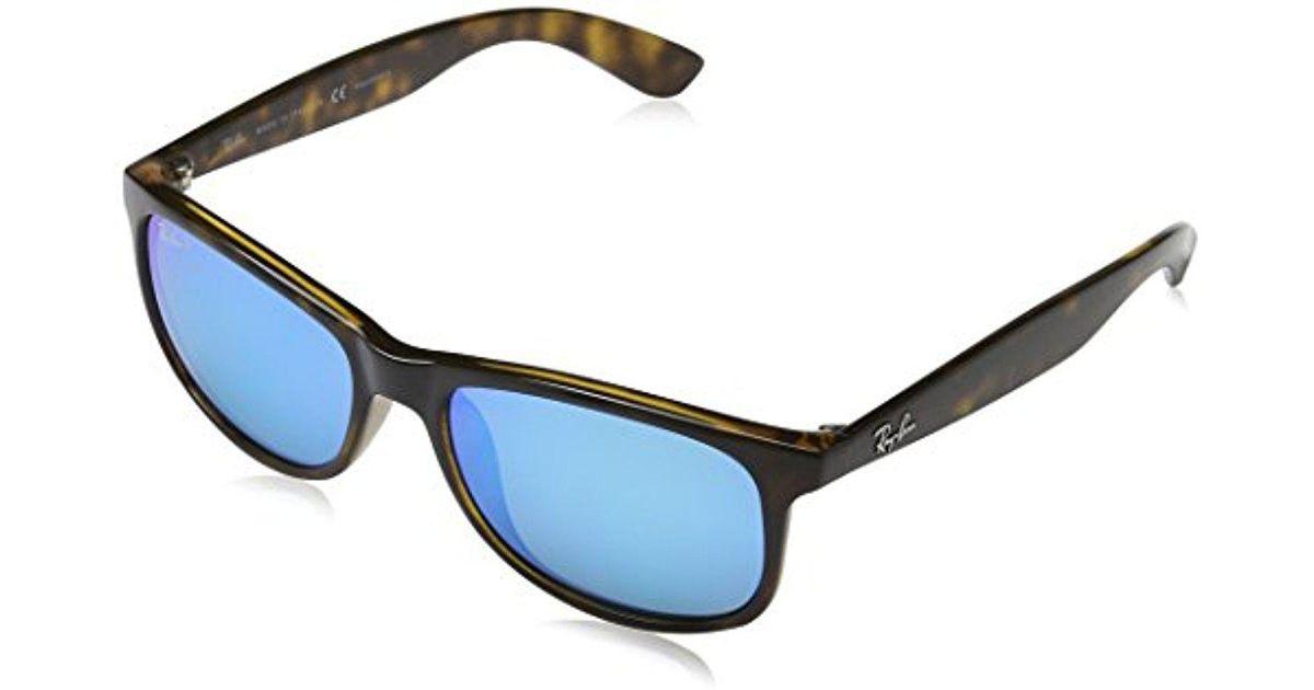 ce3f67ed4e7 Lyst - Ray-Ban Andy - Shiny Havana Frame Polar Blue Flash Lenses 55mm  Polarized in Blue for Men