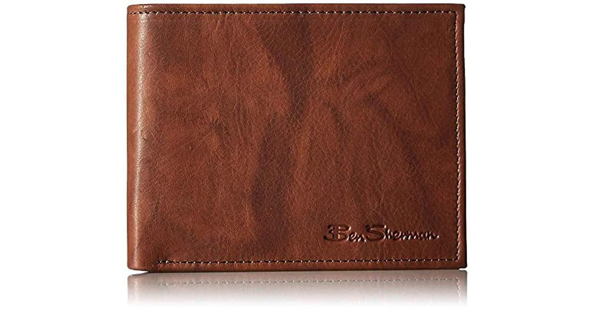 3dce0b2cd506 Lyst - Ben Sherman Manchester Full Grain Cowhide Marble Crunch Leather  Passcase Wallet With Flip Up Id Window With Rfid in Brown for Men