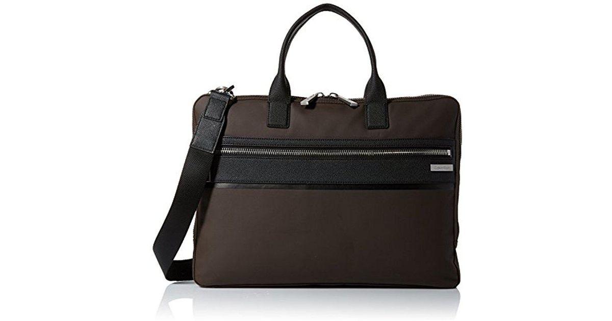 fceb9a240b21 Calvin Klein Brown Nylon With Saffiano Trim Slim Attache for men