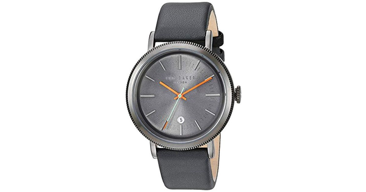 For 'connor' Stainless Quartz Steel Watch And Men Baker Gray Leather Casual Ted hrdCxtsQ