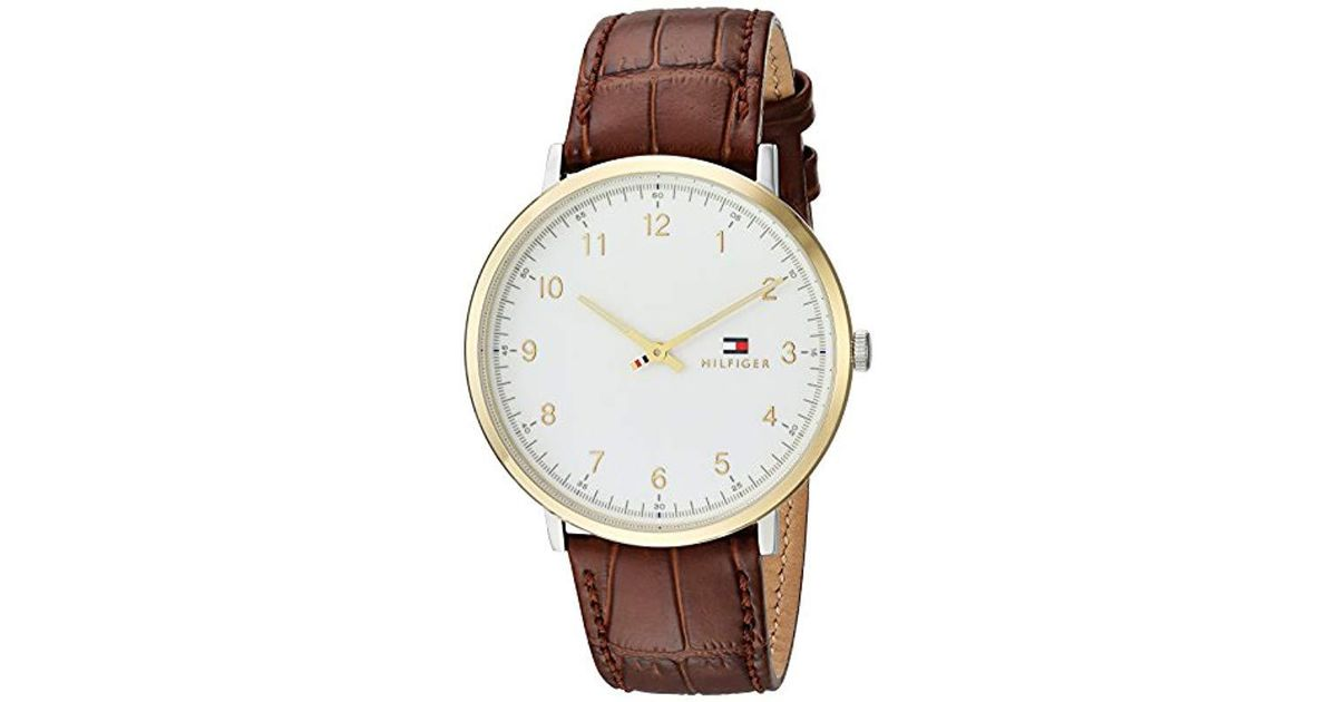 1ecf81058 Tommy Hilfiger 'sophisticated Sport' Quartz Silver And Gold And Leather  Casual Watch, Color Brown (model: 1791340) in White for Men - Lyst