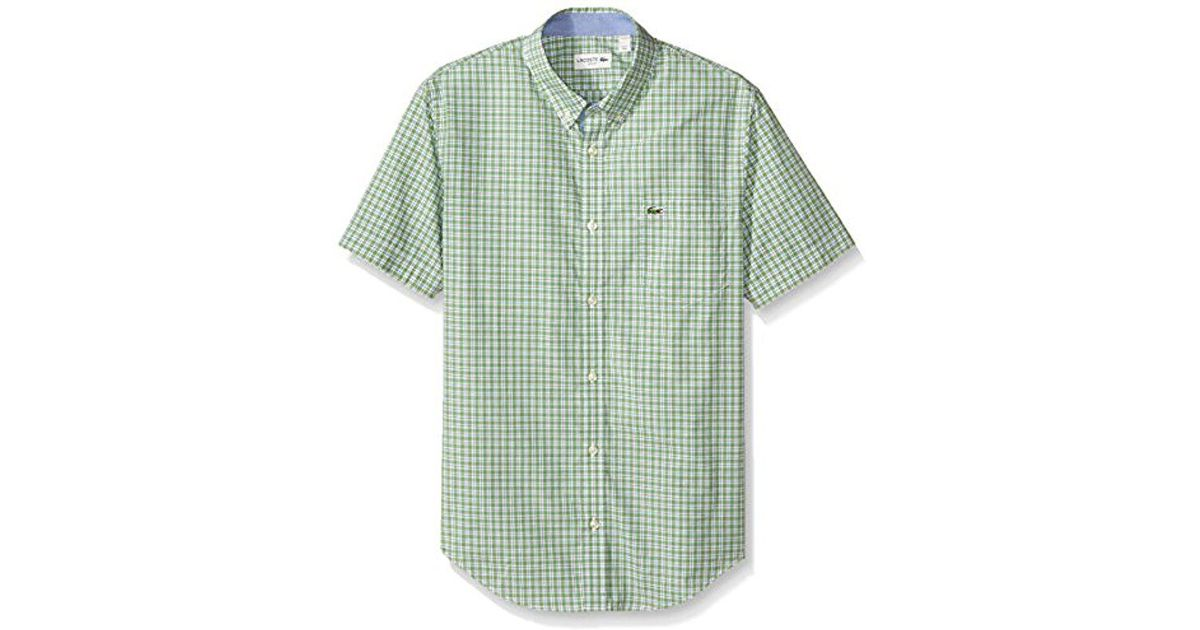 5f6884eee2 Lacoste - Green Short Sleeve Poplin Check Slim Fit Woven Shirt for Men -  Lyst