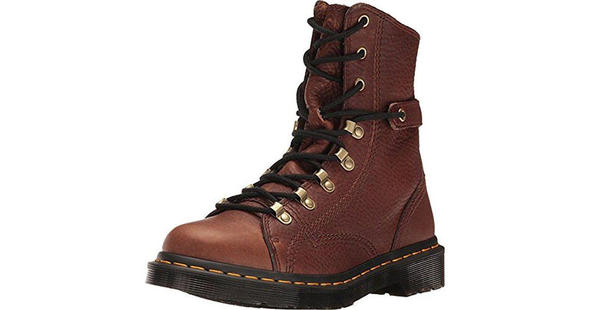 In Boot Lyst Dark Brown Gizzly Leather Combat Martens Dr Coraline tqTwUZTAz