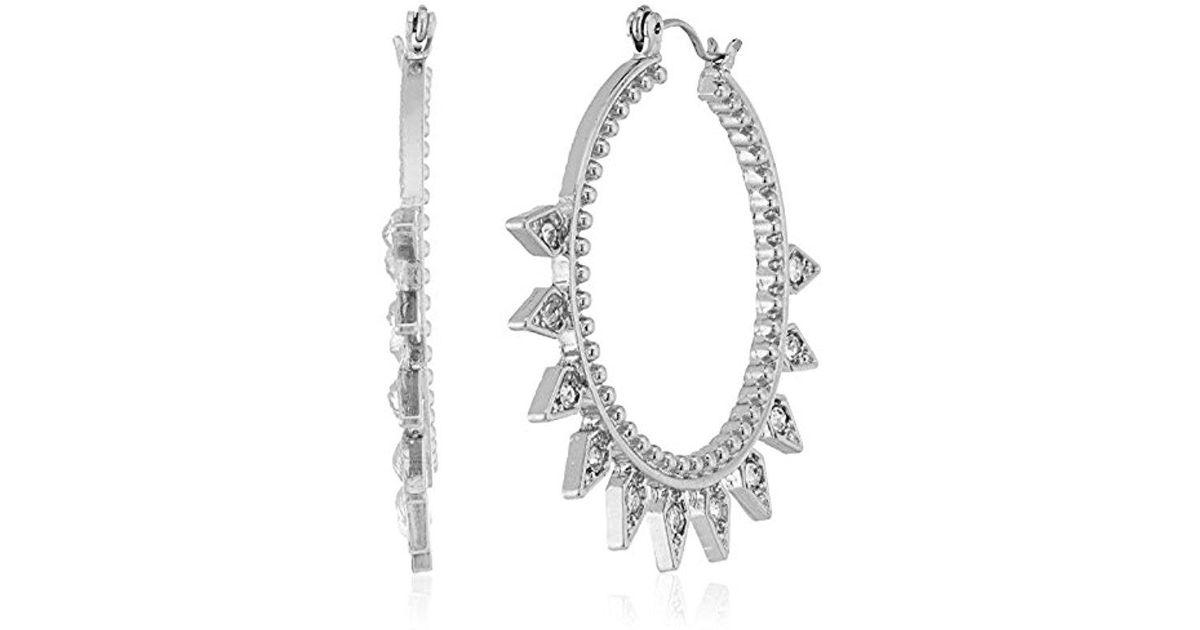 9a45e2efa Lyst - Steve Madden Rhinestone Cutout Hoop Earrings in Metallic