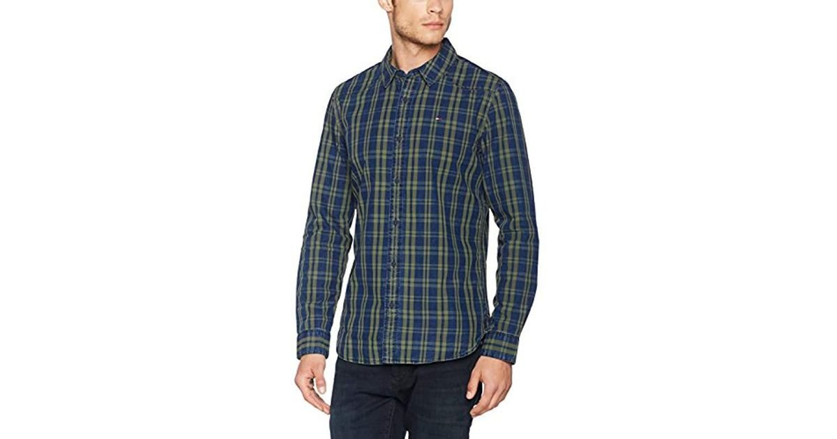 3a3028ac Tommy Hilfiger Indigo Check Casual Shirt in Blue for Men - Lyst