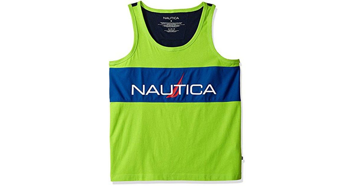 61c9e5327394f Nautica Blue Mesh Tank Top With Logo Print for men
