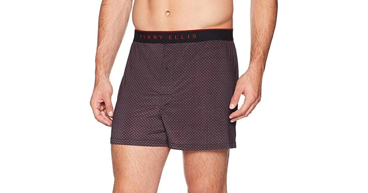 Perry Ellis Mens Luxe Small Neat Boxer Short