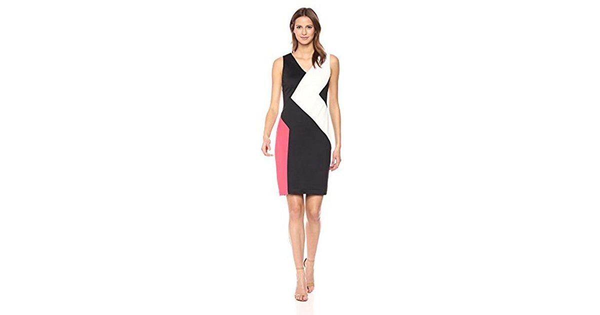 21c73a0c168f Lyst - Calvin Klein 3 Colorblock Dress in Black - Save 26%
