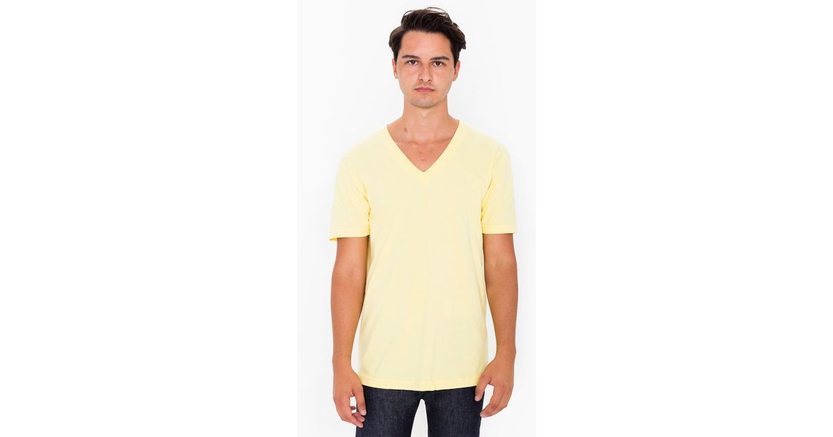 American apparel fine jersey v neck t shirt in yellow for for American apparel men s fine jersey short sleeve tall t shirt