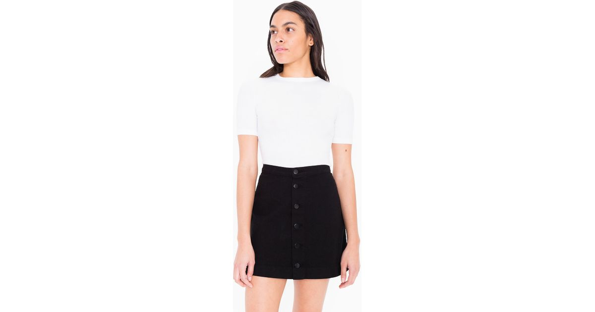 american apparel colored button front denim a line skirt