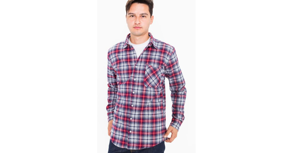American apparel tartan plaid flannel long sleeve button for Button up flannel shirts