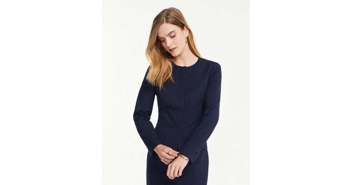 ad600767c Ann Taylor The Petite Crewneck Jacket In Pindot in Blue - Lyst