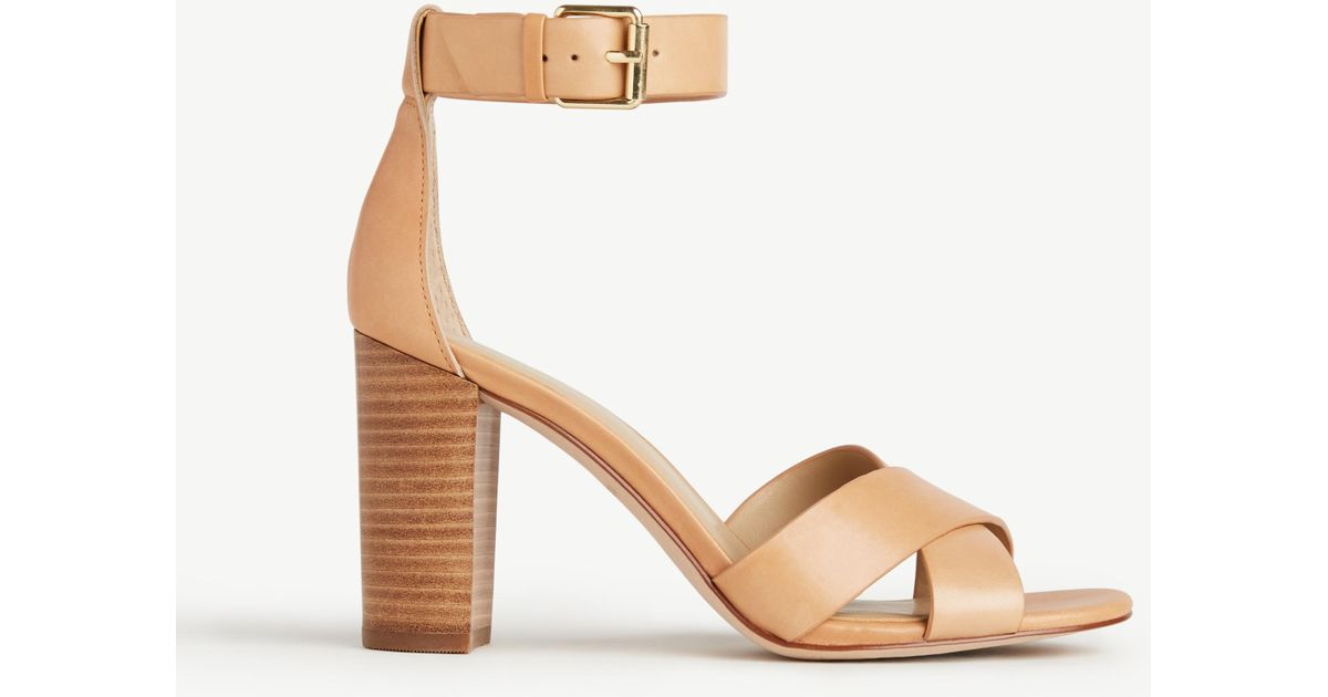 a0c1a6fd098992 Lyst - Ann Taylor Gigi Leather Block Heel Sandals in Natural