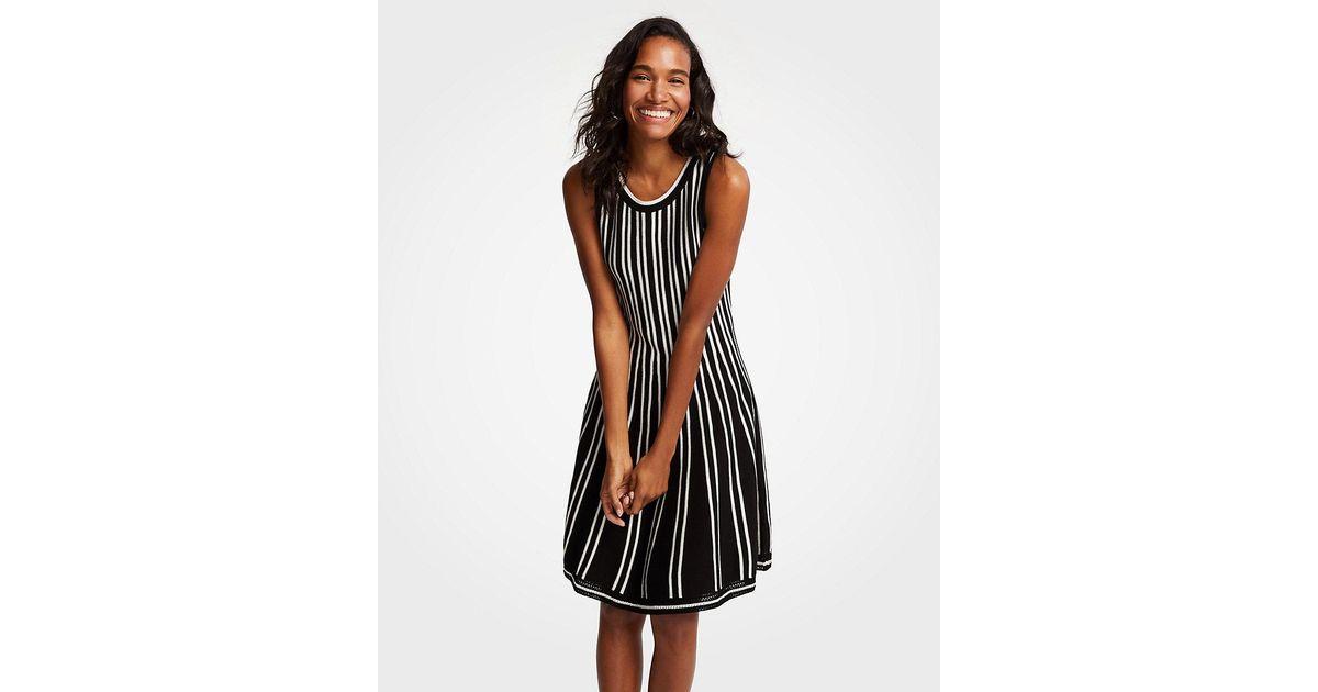 1cd742177b3 Ann Taylor Petite Striped Flare Sweater Dress in Black - Lyst