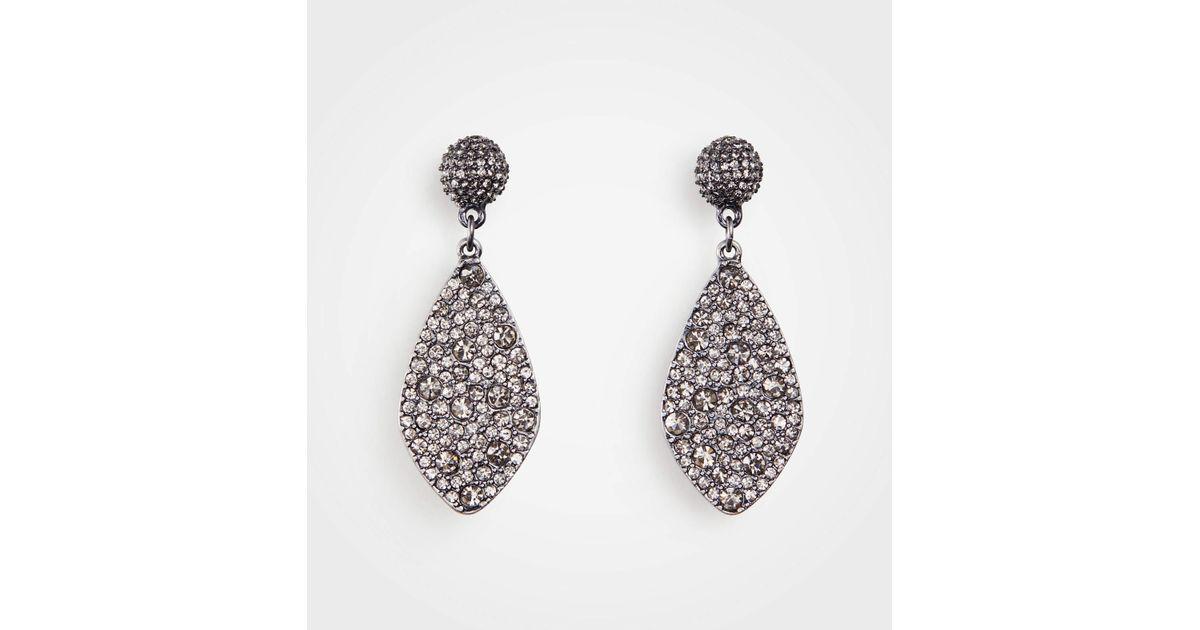 a370b8eeb Ann Taylor Gunmetal Pave Earrings in Metallic - Lyst