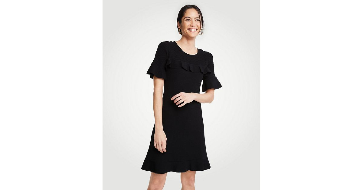 Lyst Ann Taylor Petite Chevron Ruffle Sweater Dress In Black
