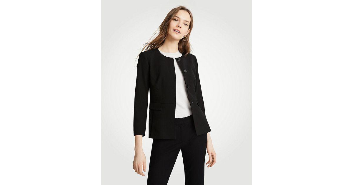 cdd03372a Ann Taylor Petite Seasonless Stretch Peplum Jacket in Black - Lyst