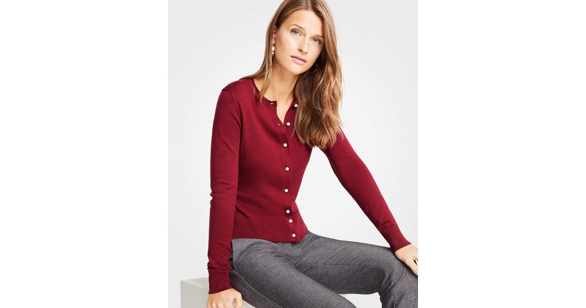 516d84fe7275 Lyst - Ann Taylor Petite Pearlized Button Ann Cardigan in Red