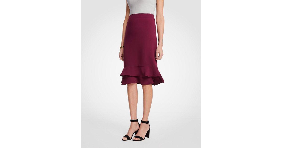 4f332c296cfad1 Lyst - Ann Taylor Ruffle Pencil Skirt