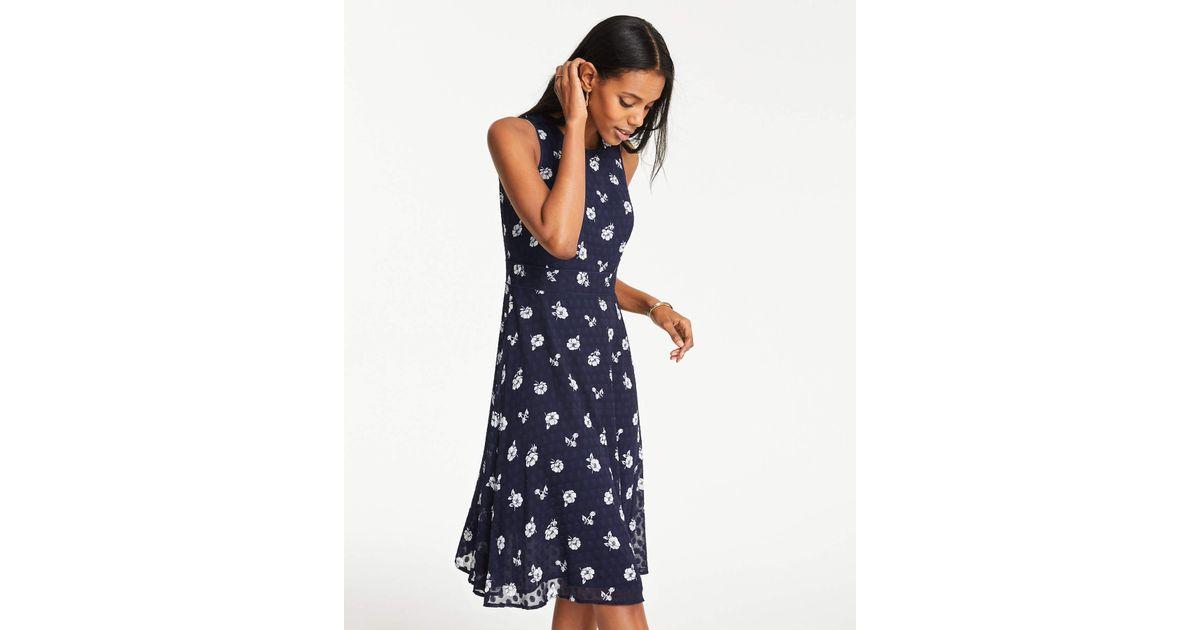 4f62c6a52a75fb Ann Taylor Petite Floral Clip Dot Chiffon Midi Dress in Blue - Lyst