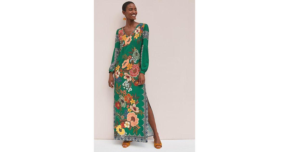 Anthropologie Farm Rio Peacock Floral Stretch Slim Knit Long Maxi Skirt